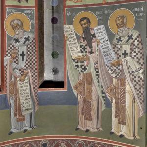 Αγ. Αθανάσιος, Αγ.Βασίλειος,Αγ. Διονύσιος ο Αρεοπαγίτης , Κόγχη ιερού