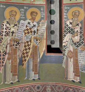 Αγ. Γρηγόρος ο Θεολόγος, Αγ. Ιωάννης ο Χρυσόστομος, Αγ. Ιάκωβος ο Αδελφόθεος, Κόγχη ιερού