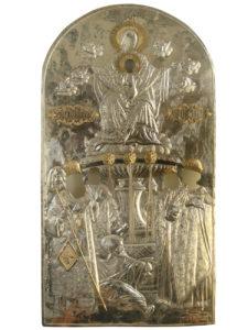 Ασημένιο πουκάμισο δεσποτικής εικόνας Ζωοδόχου Πηγής. Έργο Ιω.Α.Νικητόπουλου. Δωρεά Δημητρίου Αθ. Νικολογιάννη.1917.