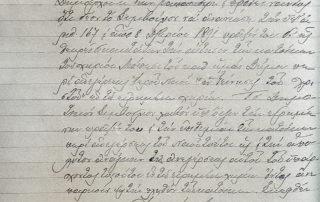 Αίτηση για ανέγερση ναού (πρακτικά), 06.02.1894 Θέμα ήταν η ανανέωση της υπ' αριθμ. 167 (08.12.1891) απόφασης. Αφορούσε την αίτηση των κατοίκων περί ανέγερσης ιερού ναού «η Γέννηση του Χριστού». Το δημοτικό συμβούλιο έκρινε την αίτηση δίκαιη και την ανέγερση αναγκαία. Το έγγραφο όμως δεν έχει πάρει αριθμό και δεν έχει υπογραφεί.