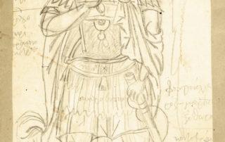 Σώμα αγίου από την Παλαιοπαναγιά Κάντζας, [χ.χ]. 19.00 x 15.00 εκ. Μολύβι σε χαρτί.