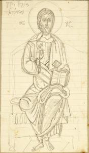 Iησούς Χριστός, από τον Προφήτη Ηλία στο Λιόπεσι, [χ.χ]. 20.00 x 12.00 εκ. Μολύβι σε χαρτί.
