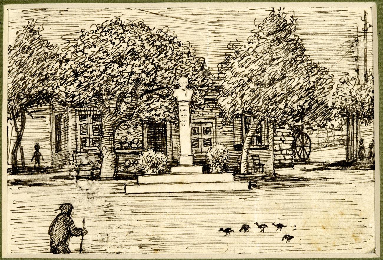 Πλατεία Δημοσθένους Παιανίας, 1942. 7.4 x 10.5 εκ. Μολύβι σε χαρτί.