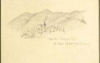 Υμηττός, βασίλεμα ηλίου, 12 Ιουλίου 1944. 15.70 x 22.00 εκ. Μολύβι σε χαρτί.