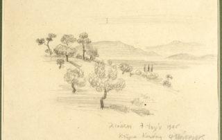 Λιόπεσι, 7 Ιουλίου 1946, κτήμα Κανάκη. 16.60 x 21.00 εκ. Μολύβι σε χαρτί.
