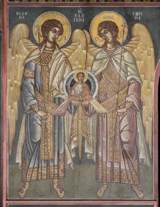 Αγ. Αρχάγγελοι, Μιχαήλ και Γαβριήλ, Ν. πλευρά στην κόγχη του ιερού, Βασίλειος Μπρούσαλης, 1960.