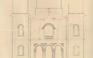 Σχέδιο μεταρρυθμίσεως της διακοσμήσεως του εν Λιόπεσι ναού Ζωοδόχου Πηγής. Κυρία όψις, 1938.