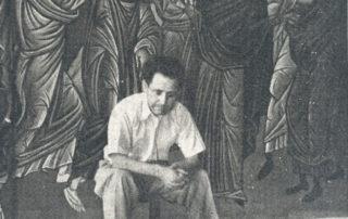 Ο Φώτης Κόντογλου στην σκαλωσιά στον Ι.Ν. Ζωοδόχου Πηγής, 1946
